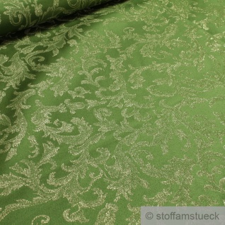 Stoff Polyester Jacquard Ornament grün gold Lurex Goldbrokat Barock Rokoko 280 cm überbreit