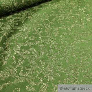 Stoff Polyester Jacquard Ornament grün gold Lurex Goldbrokat Barock Rokoko 300