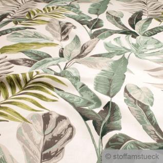 Stoff Baumwolle off-white Dschungel breit 280 cm Blatt Palme Philodendron