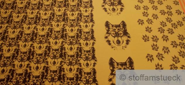 Panel Stoff Baumwolle Elastan Single Jersey ocker Wolf angeraut - Vorschau 2