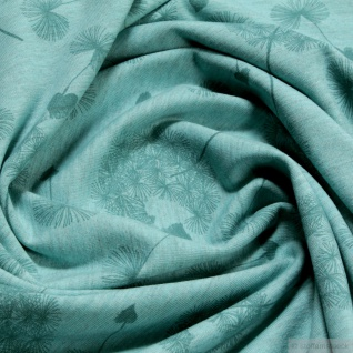 Stoff Baumwolle Polyester Elastan Single Jersey türkis meliert Pusteblume