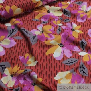 Stoff Viskose Feinköper ziegelrot Blume fließend leicht weich Blumen farbenfroh