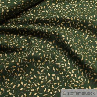 Stoff Weihnachtsstoff Baumwolle grün Ilex gold Baumwollstoff
