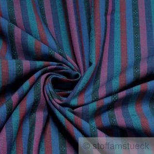 Stoff Baumwolle Streifen blau petrol Blümchen Baumwollstoff