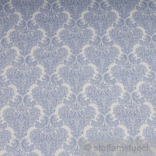 Stoff Polyester Baumwolle Ornament weiß hellblau feingezeichnet - Vorschau 3