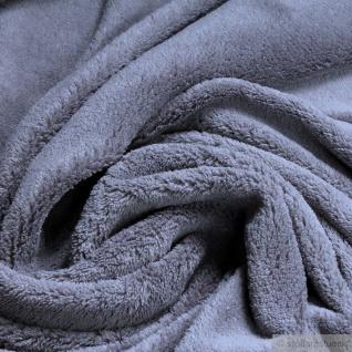 Stoff Polyester Wellness Fleece grau Kuschelfleece mausgrau