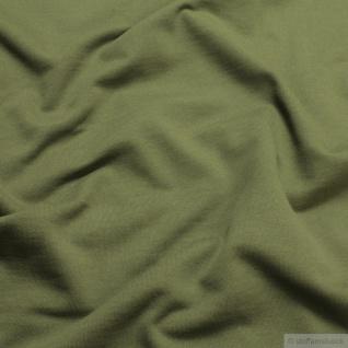 0, 5 Meter Stoff Baumwolle Single Jersey oliv angeraut Sweatshirt weich khaki - Vorschau 2
