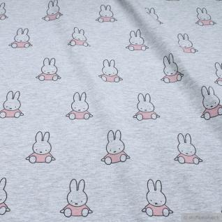 0, 5 Meter Stoff Baumwolle Single Jersey hellgrau Kaninchen Miffy rosa Nijntje