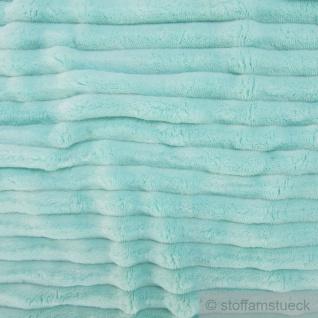Stoff Polyester Minky Fleece türkis Streifen Soft Fleece Mole Fleece Softplüsch