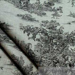 Stoff Leinen Toile de Jouy Ernte natur schwarz Reinleinen klassisch