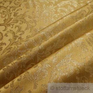 Stoff Polyester Jacquard Ornament gold gold Lurex Goldbrokat Barock Rokoko 280 cm überbreit