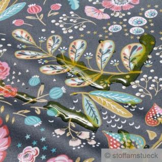 Stoff Baumwolle Acryl schwarz Blume Dschungel beschichtet wasserabweisend