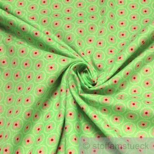 10 Meter Stoff Baumwolle hellgrün Prilblume rosa Baumwollstoff Blume