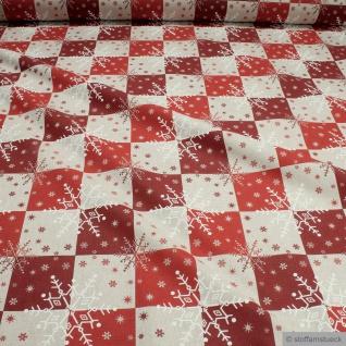 Weihnachtsstoff Stoff Baumwolle Polyester Rips natur Schneeflocke rot
