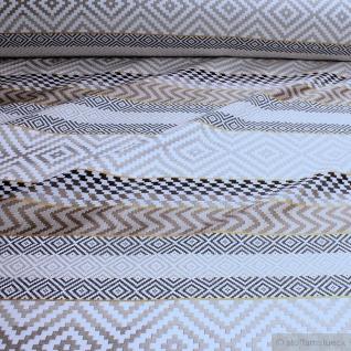 Stoff Polyester Baumwolle Leinen Jacquard Streifen beige schwarz Geometrie breit