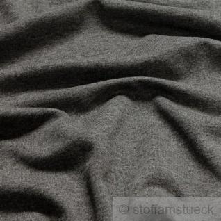 0, 5 Meter Stoff Baumwolle Polyester Jersey dunkelgrau angeraut Sweatshirt weich - Vorschau 2