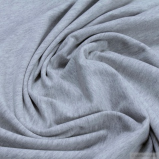 Stoff Bio-Baumwolle Elastan Single Jersey hellgrau meliert kbA grau