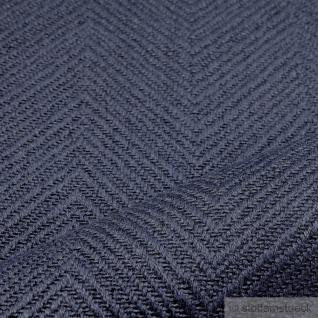 Stoff Leinen Baumwolle Polyester Fischgrat marine Polster 35.000 Martindale blau