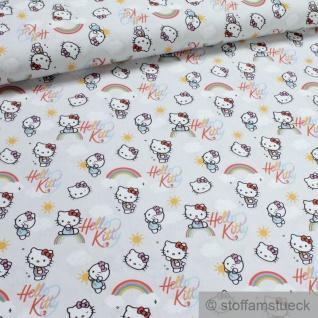 Stoff Kinderstoff Baumwolle hellgrau Hello Kitty Regenbogen Baumwollstoff