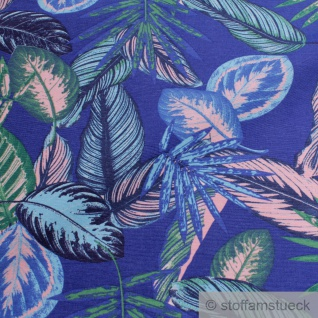 Stoff Baumwolle Polyester kobaltblau Dschungel Palme Blatt Blätter blau - Vorschau 2