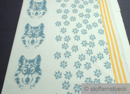 0, 5 Meter Panel Stoff Baumwolle Elastan Single Jersey pastell oliv Wolf angeraut