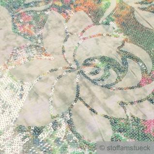 0, 5 Meter Stoff Viskose Elastan Single Jersey ecru Pailletten Blumen Stickerei - Vorschau 2