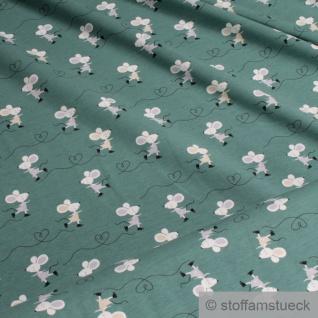 0, 5 Meter Kinderstoff Baumwolle Elastan Single Jersey grün Maus dehnbar weich