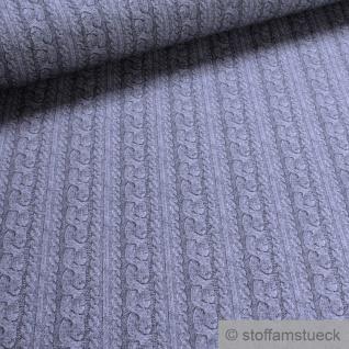 0, 5 Meter Stoff Baumwolle Elastan French Terry grau Strickmuster Digitaldruck