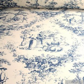 Stoff Baumwolle Rips Toile de Jouy Rosen ecru blau ländlich 280 cm breit
