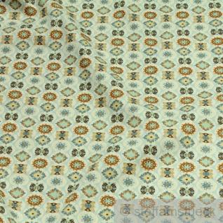 Stoff Baumwolle Popeline pastellblau Mandala Baumwollstoff Blume beidseitiger Druck
