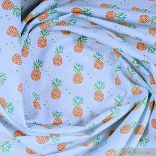 Stoff Kinderstoff Baumwolle hellblau Ananas Baumwollstoff leicht weich