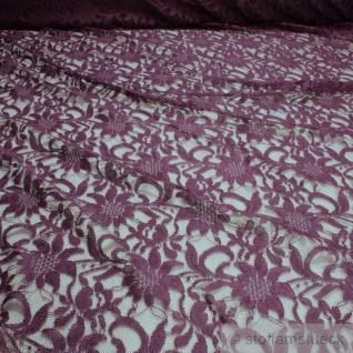 Stoff Polyamid Polyester Elastan Spitze violett Blume fließend fallend weich