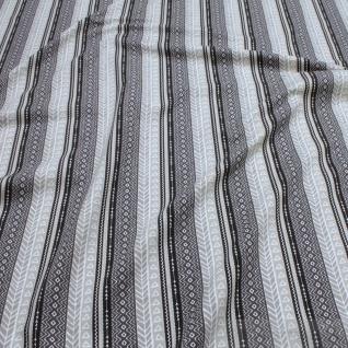 0, 5 Meter Stoff Baumwolle Elastan Single Jersey Muster Streifen beige schwarz - Vorschau 2