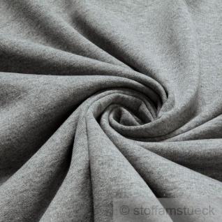 Stoff Baumwolle Polyester Jersey hellgrau angeraut Sweatshirt weich dehnbar grau