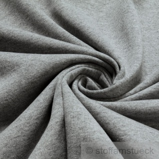 Stoff Baumwolle Polyester Jersey hellgrau angeraut Sweatshirt weich dehnbar