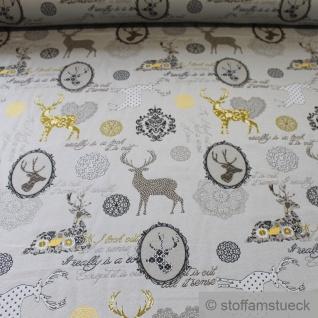 Stoff Baumwolle Polyester Gobelin beige Hirsch blickdicht