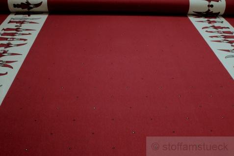 Stoff Weihnachtsstoff Baumwolle Polyester Rips bordeaux Weihnachtsmann Bordüre