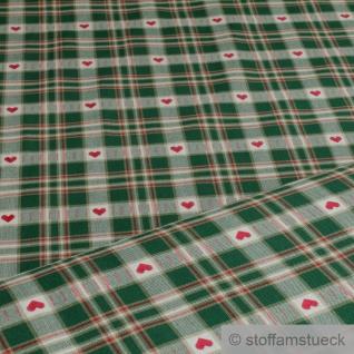 Stoff Baumwolle Karo beige grün Herz Westfalenstoffe Trondheim Baumwollstoff - Vorschau 1