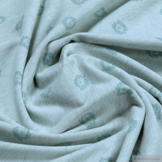 Stoff Bio-Baumwolle Elastan Single Jersey pastelltürkis meliert Pusteblume klein