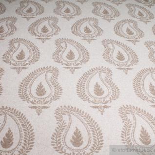 Stoff Wolle Polyamid Flanell Paisley natur beige angeraut weich blickdicht