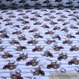 Stoff Baumwolle Elastan French Terry hellblau Traktor rot gelbe Räder Trecker