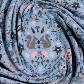 0, 5 Meter Stoff Baumwolle Elastan Single Jersey blau Eichhörnchen Vögel Eicheln