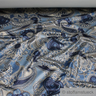 Stoff Viskose Samt Paisley hellblau marine Polstersamt Polsterstoff