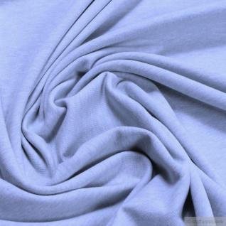 0, 5 Meter Stoff Bio-Baumwolle Elastan Single Jersey pastellblau meliert kbA blau