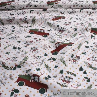 Stoff Weihnachtsstoff Baumwolle weiß Mickey & Minnie Mouse Weihnachten