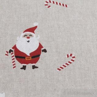 Stoff Weihnachtsstoff Baumwolle Polyester Rips natur Nikolaus Weihnachtsmann - Vorschau 4
