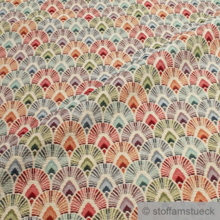 Stoff Baumwolle Polyester Gobelin natur Fächer bunt Decke Kissenbezug
