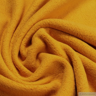 Stoff Baumwolle Polyester Fleece ocker Baumwollfleece Plüsch kuschelig