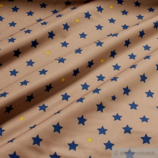 Stoff Polyester Lycra Softshell Stern camel blau wasserabweisend