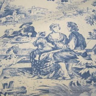Stoff Baumwolle Rips Toile de Jouy Dorf beige blau Dorfcharakter - Vorschau 2